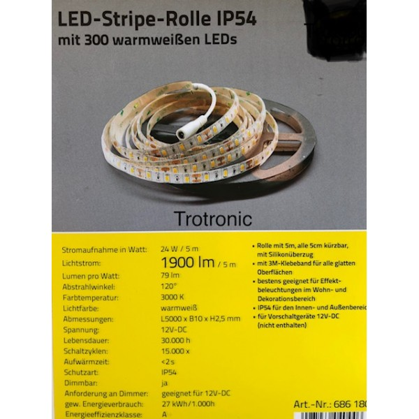 LED-Stripes-Rolle dimmbar 12Vdc 24W 5M